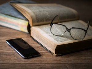 Phone and books